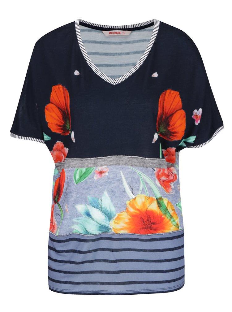 Tricou albastru Desigual Maria Luisa cu model floral și croi lejer