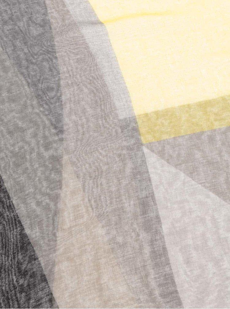 Žluto-černý vzorovaný šátek Pieces Marisa