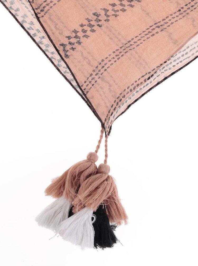 Starorůžový vzorovaný šátek s třásněmi Pieces Magdalia