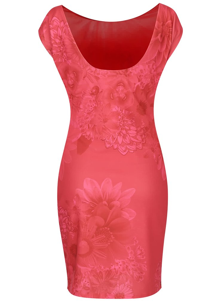 Červené květované šaty bez rukávů Desigual Pichi Luka