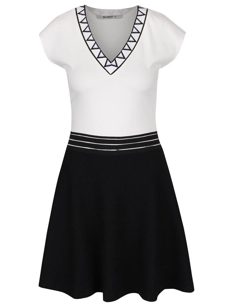 Krémovo-černé šaty s véčkovým výstřihem Desigual Connecticut