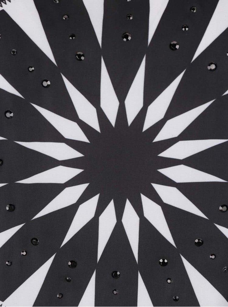 Krémovo-černý top s průsvitnými rukávy Desigual Ainara