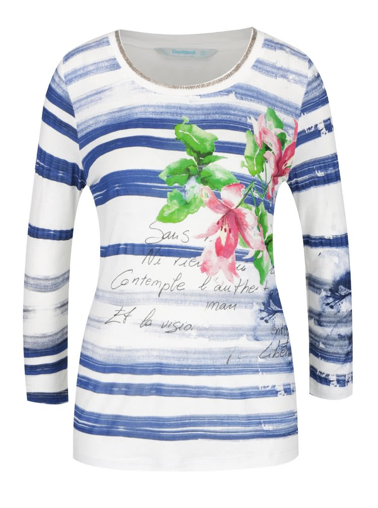Modro-krémové pruhované tričko s potiskem Desigual Mayo