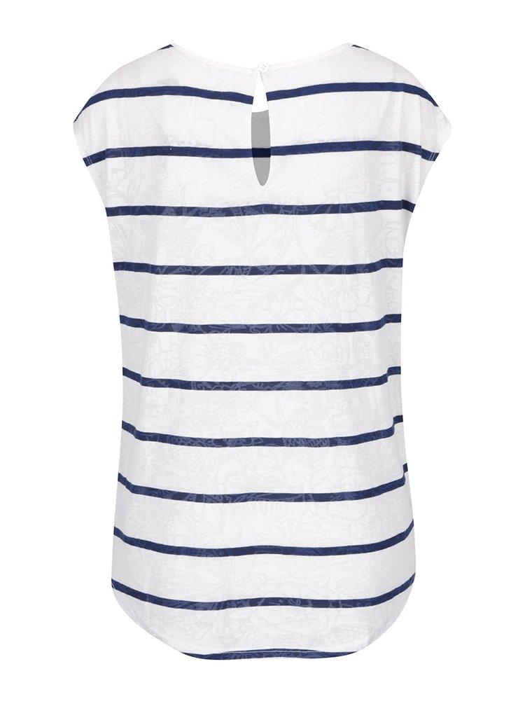 Modro-krémové pruhované tričko Desigual Macarena