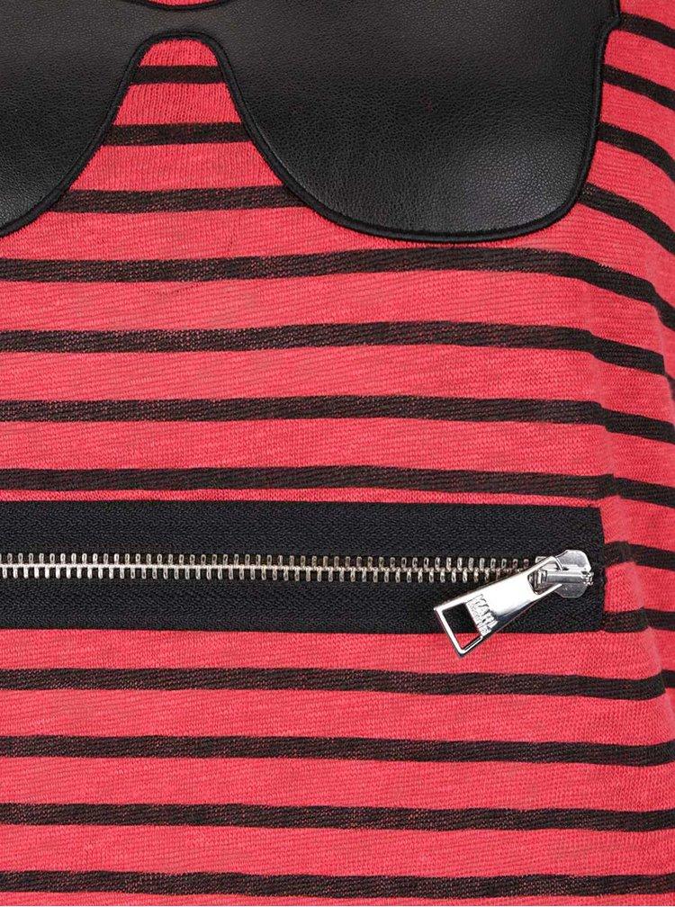 Černo-červené lněné pruhované tílko KARL LAGERFELD
