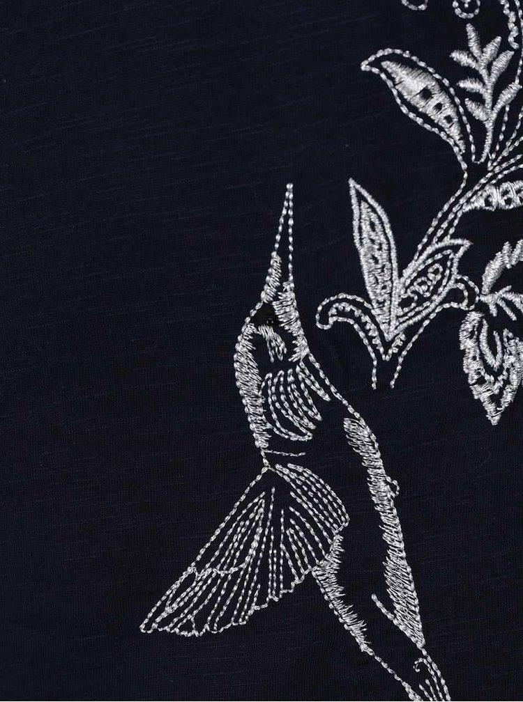 Tricou albastru închis melanj Desigual Elodie regular fit cu print