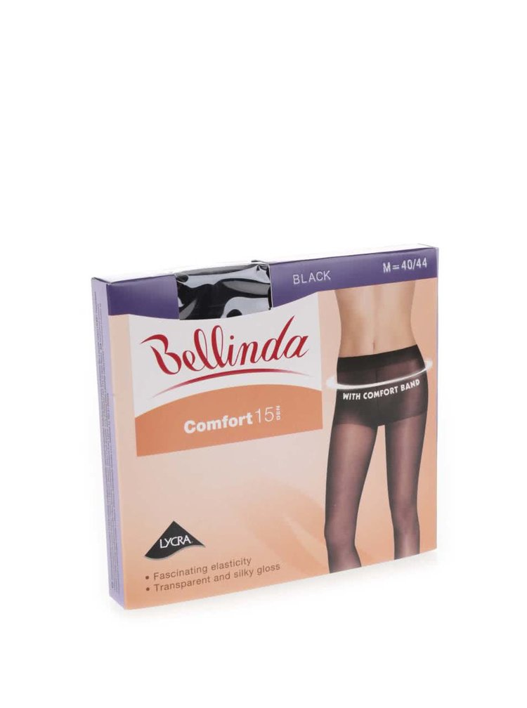 Černé punčochové kalhoty s širokým lemem v pase Bellinda Comfort 15 DEN