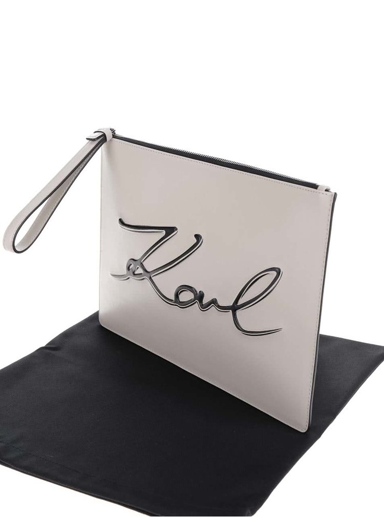 Béžové kožené psaníčko s nápisem KARL LAGERFELD
