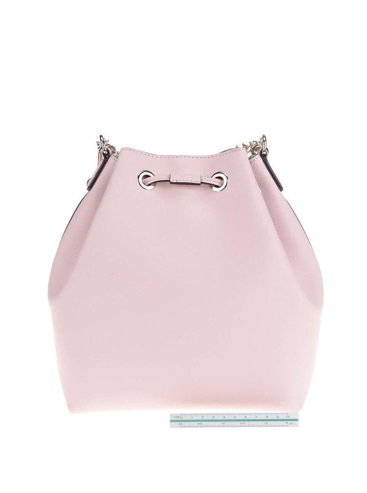 Světle růžová kožená kabelka KARL LAGERFELD
