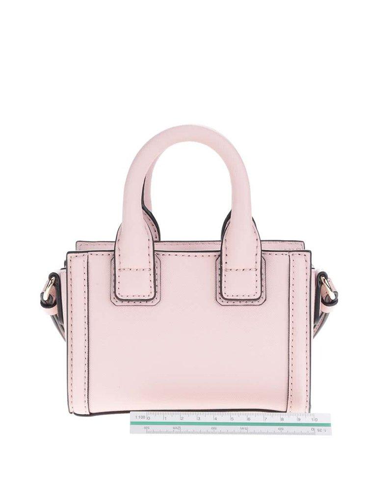 Světle růžová malá kožená crossbody kabelka  KARL LAGERFELD