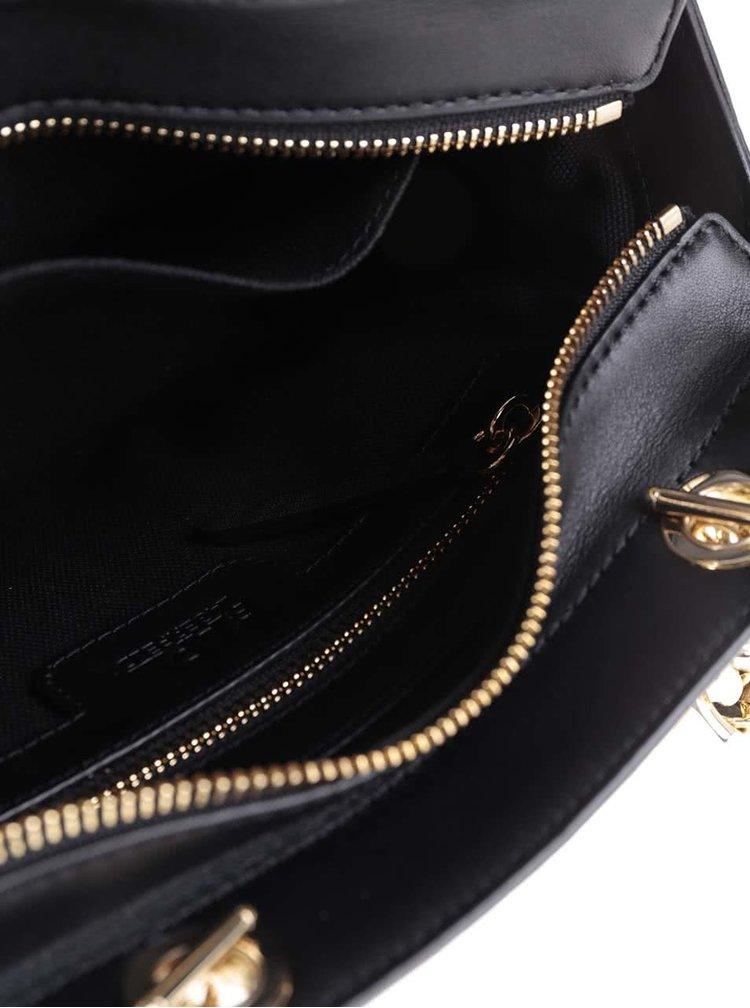 Černá kožená kabelka s detaily ve zlaté barvě KARL LAGERFELD