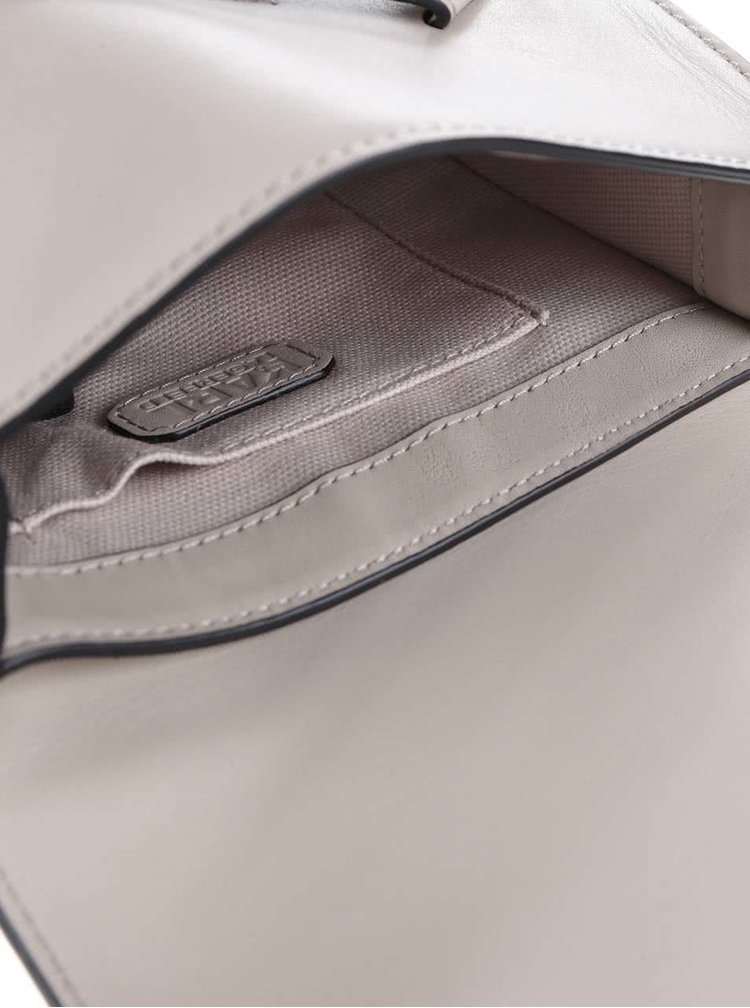 Béžová malá kožená crossbody kabelka KARL LAGERFELD