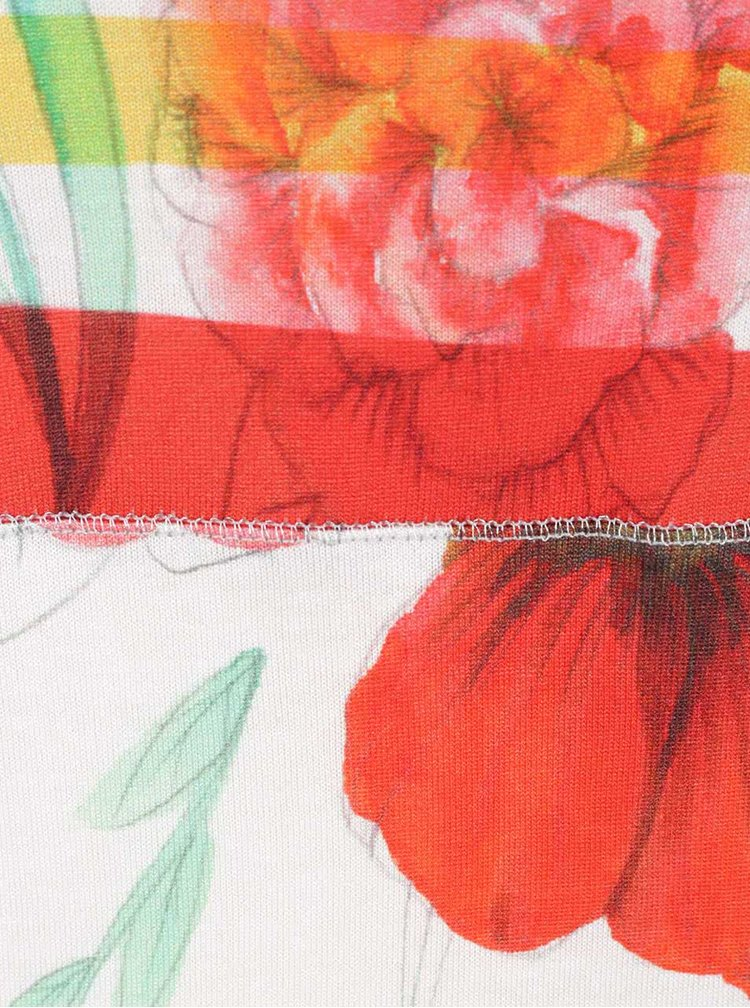 Tricou crem & roșu Desigual Amarillo cu model floral