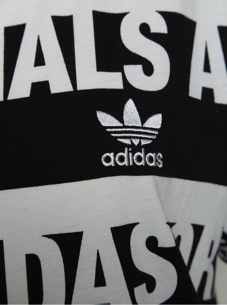 Tricou negru & alb adidas Originals Trefoil din bumbac cu model