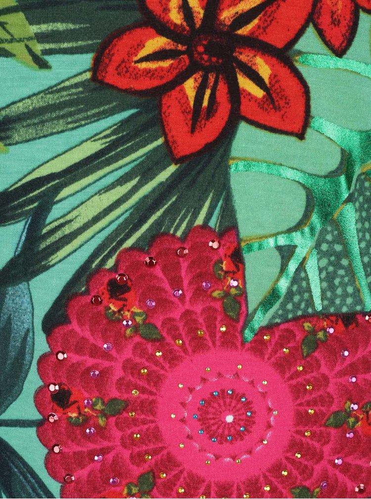 Tricou verde Desigual Carlyle cu model floral