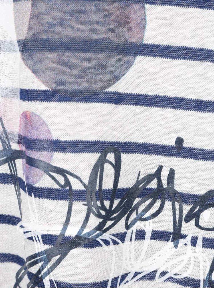 Tricou crem & albastru Desigual Uxia din in cu model in dungi si croi lejer
