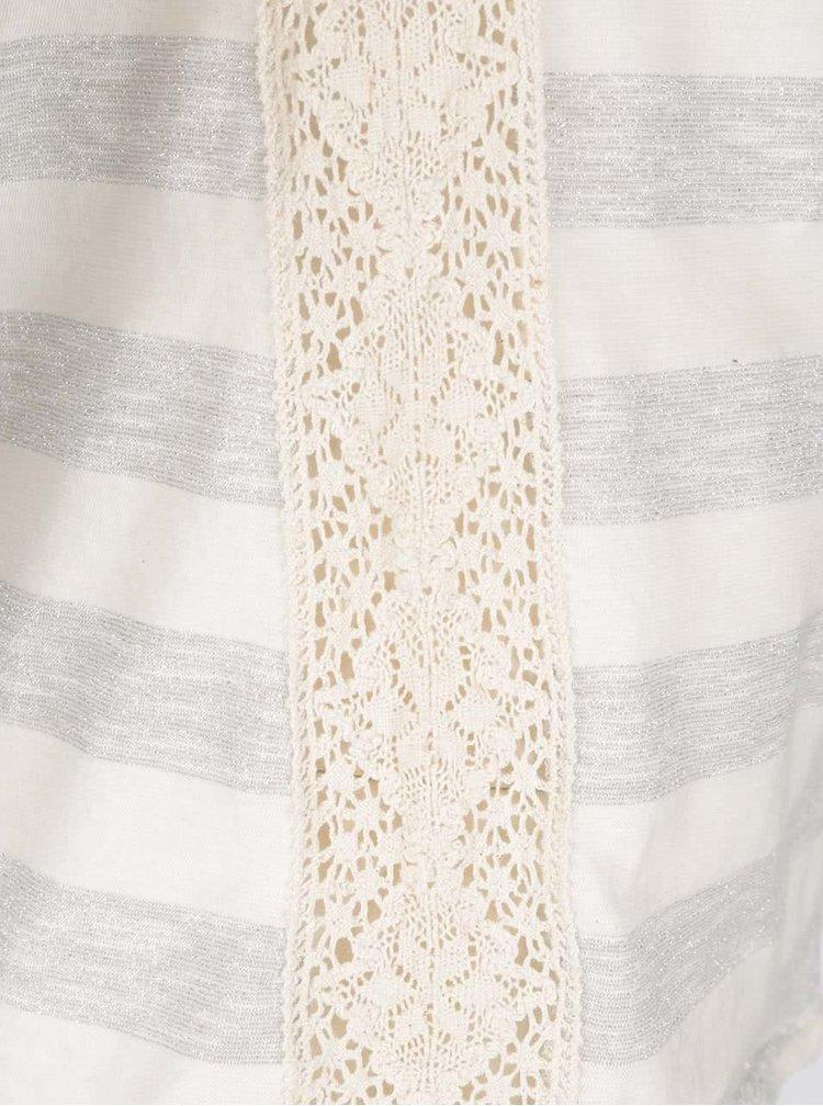 Béžové pruhované tričko s krátkým rukávem Desigual Anoia