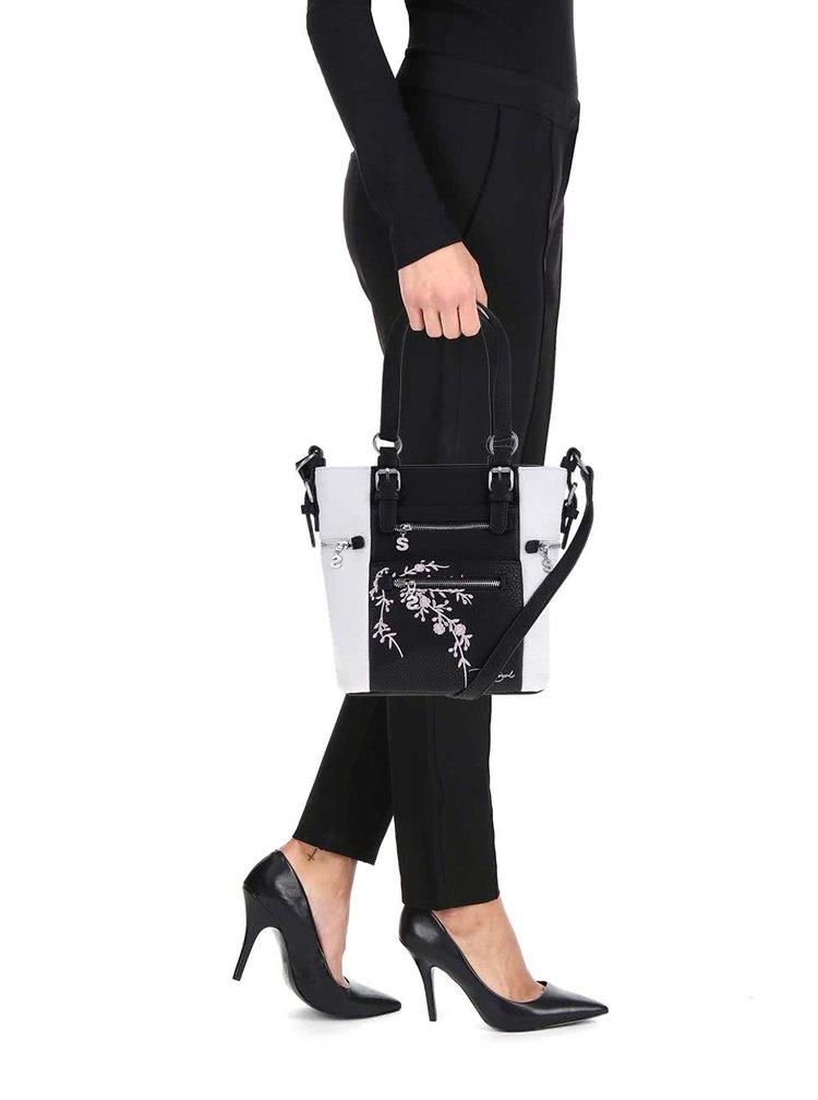 Černo-bílá kabelka do ruky Desigual Mini Argentina Blossom