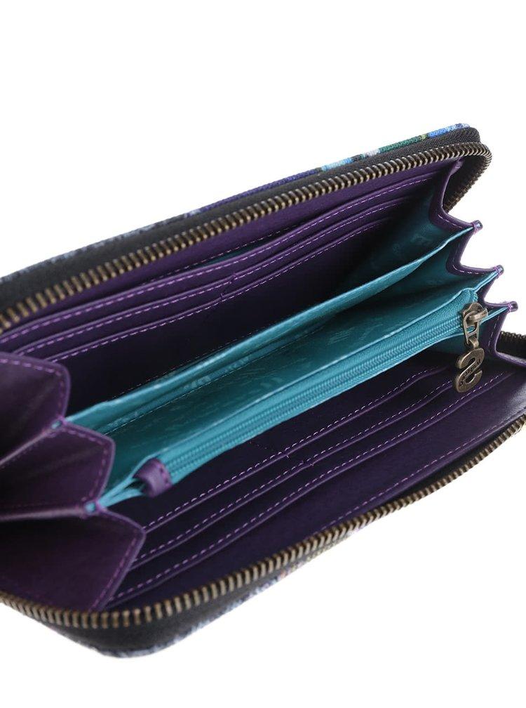 Fialovo-černá vzorovaná peněženka Desigual Boheme