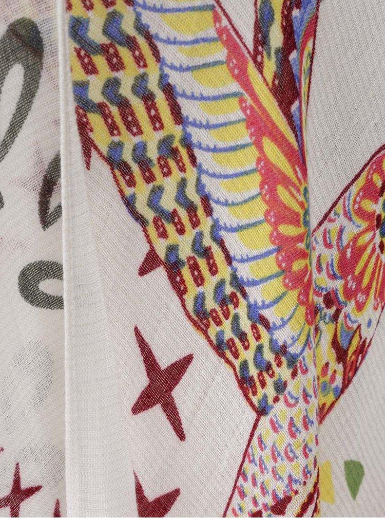 Krémové pončo s příměsí vlny Desigual White Bird