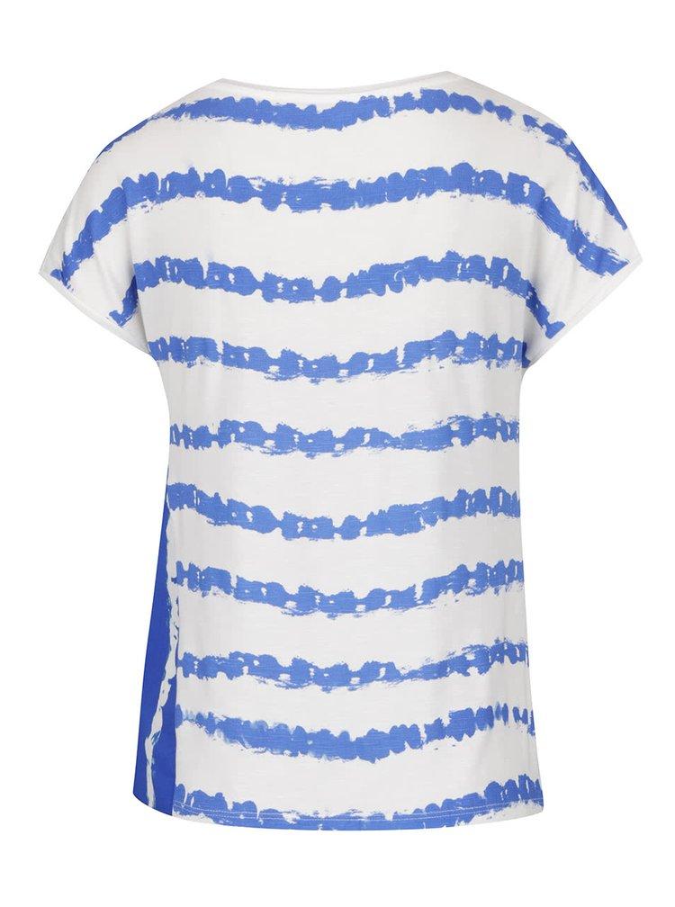 Krémové tričko s modrými pruhy Desigual Cellia
