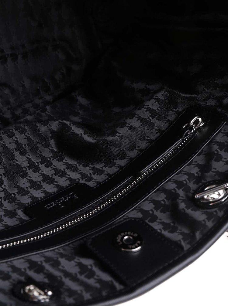 Černý kožený prošívaný shopper KARL LAGERFELD