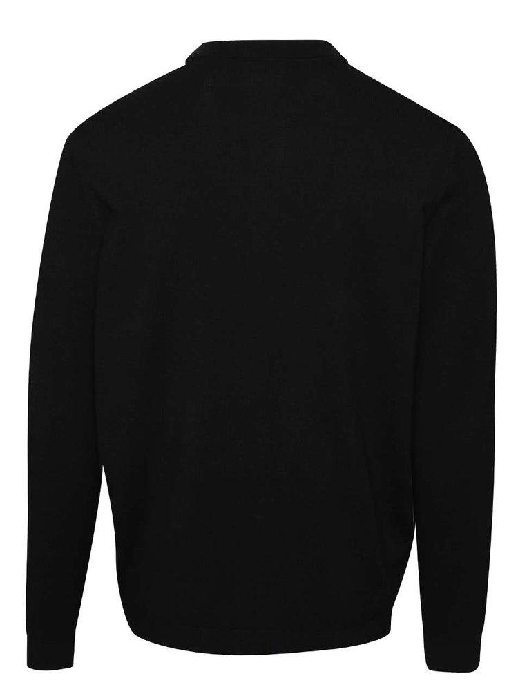 Černý cardigan s límečkem Burton Menswear London