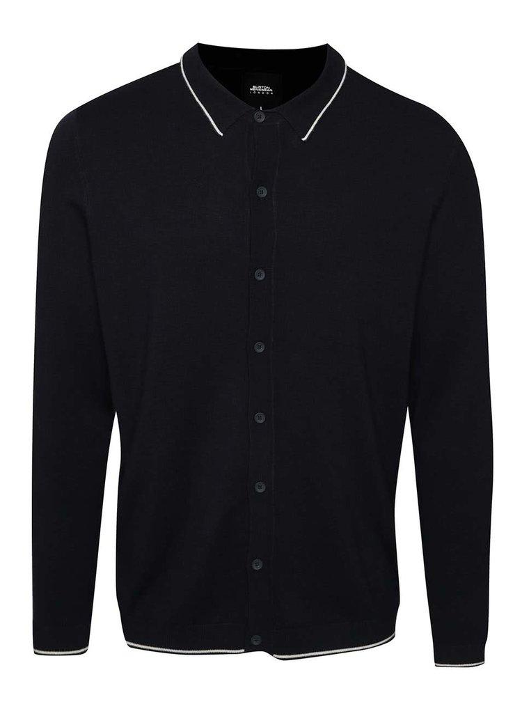 Tmavě modrý cardigan s límečkem Burton Menswear London