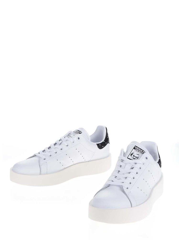 Bílé dámské kožené tenisky na platformě adidas Originals Stan Smith