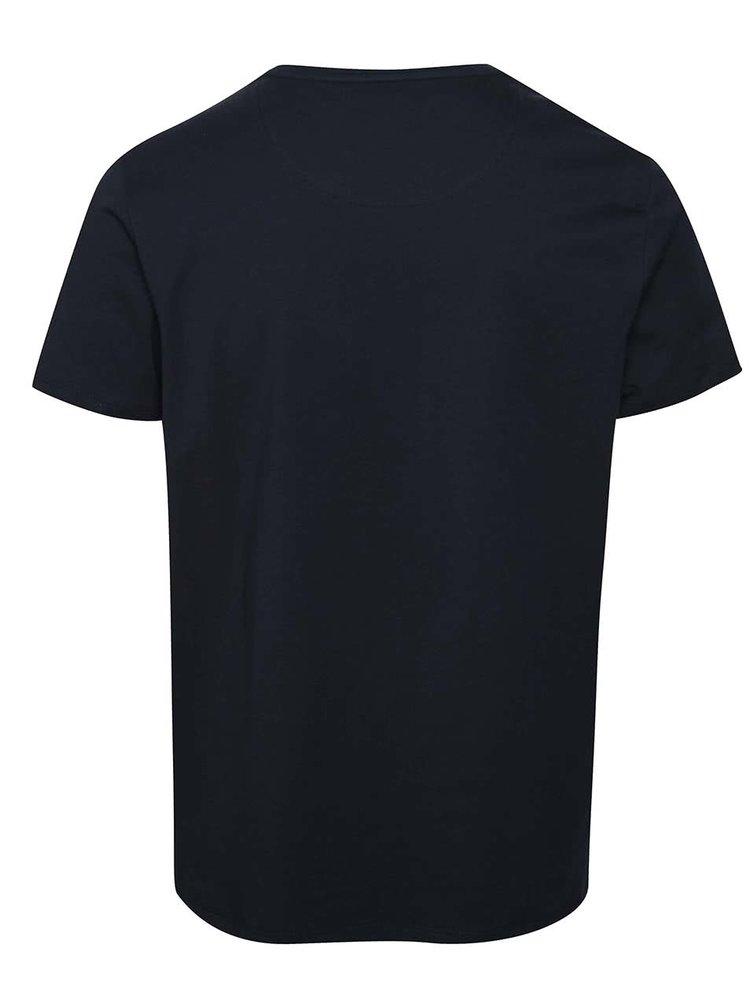 Tricou albastru închis Burton Menswear London din bumbac cu print