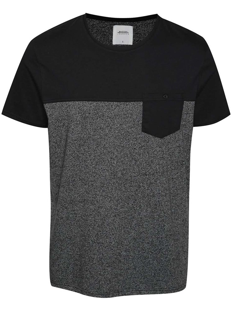 Šedo-modré žíhané triko s kapsou Burton Menswear London
