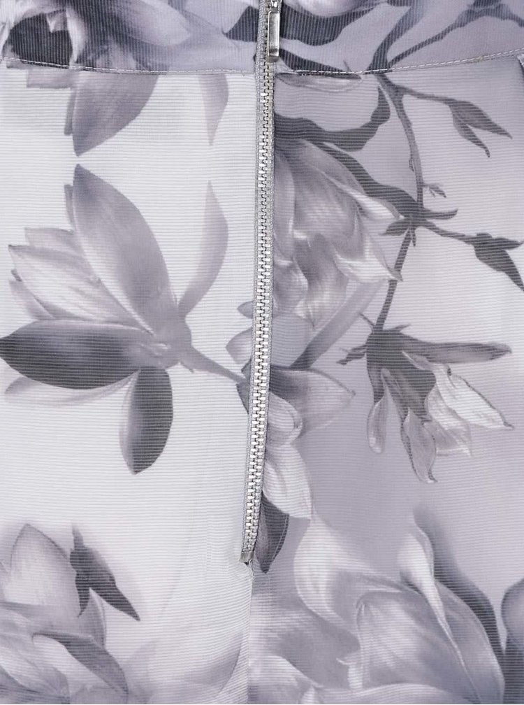 Fusta midi gri Dorothy Perkins cu imprimeu floral
