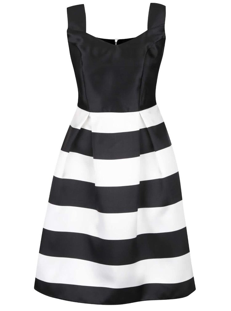 Černé šaty s pruhovanou sukní Dorothy Perkins