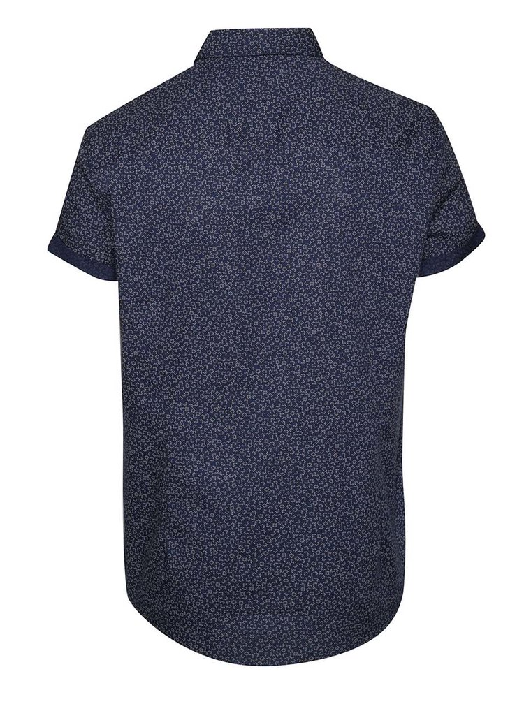 Camasa albastru inchis Burton Menswear London din bumbac cu maneci scurte si model