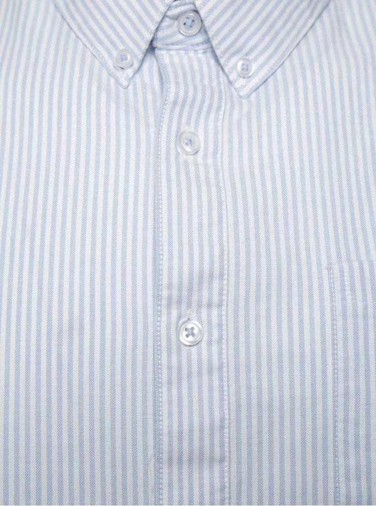 Bílo-modrá pruhovaná košile s krátkým rukávem Burton Menswear London