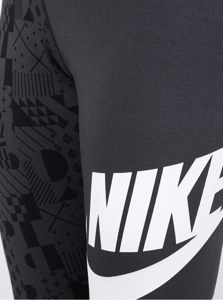 Colanți gri închis Nike cu model