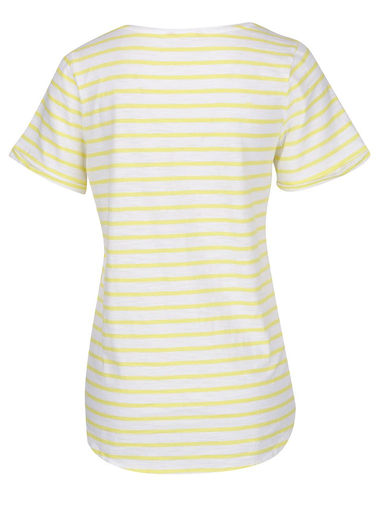 Tricou alb & galben Tom Joule Daily Stripe din bumbac cu model în dungi