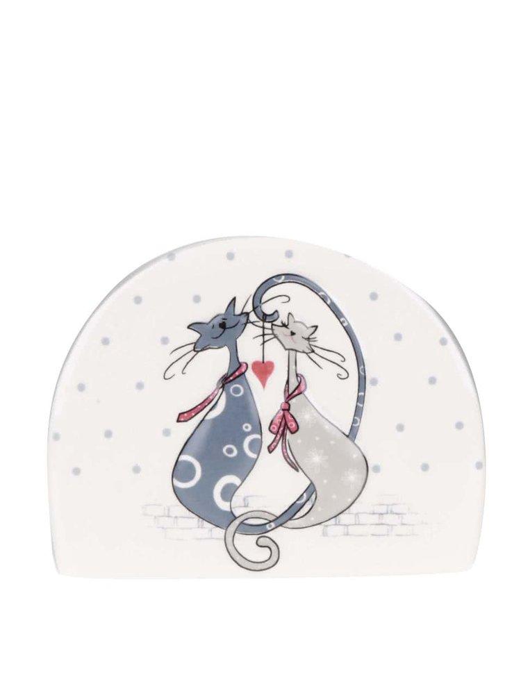 Krémový držák na ubrousky s motivem koček Dakls