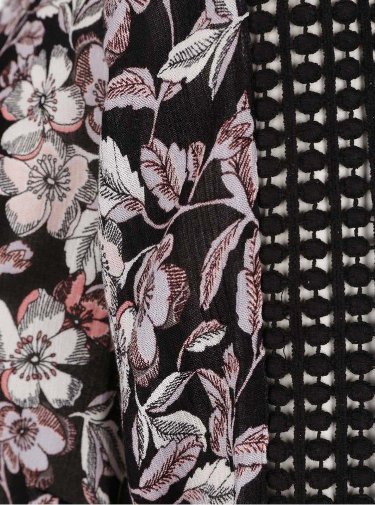 Bluza neagra M&Co cu model floral si detalii
