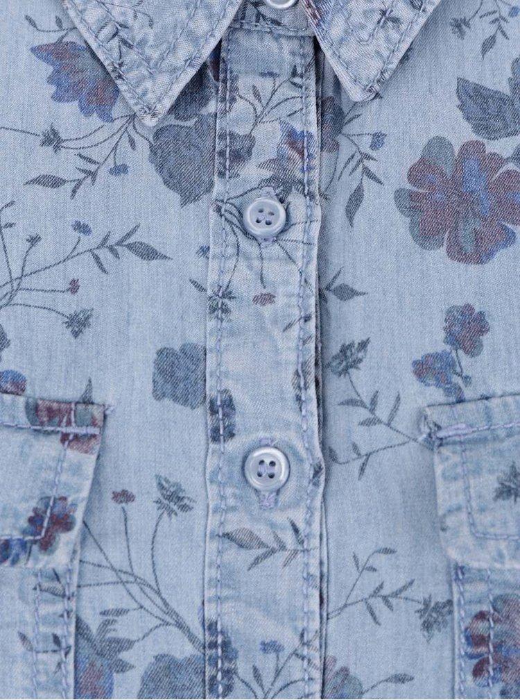 Modrá dámská květovaná košile M&Co
