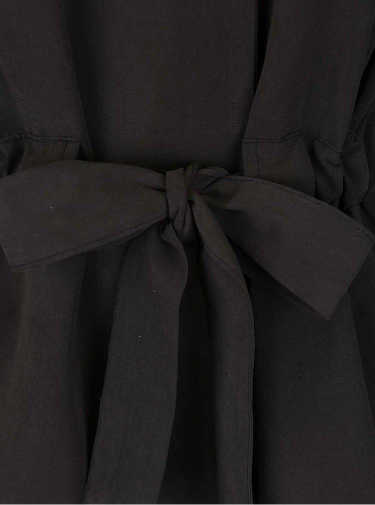 Pardesiu negru VILA Wonderfull cu cordon în talie