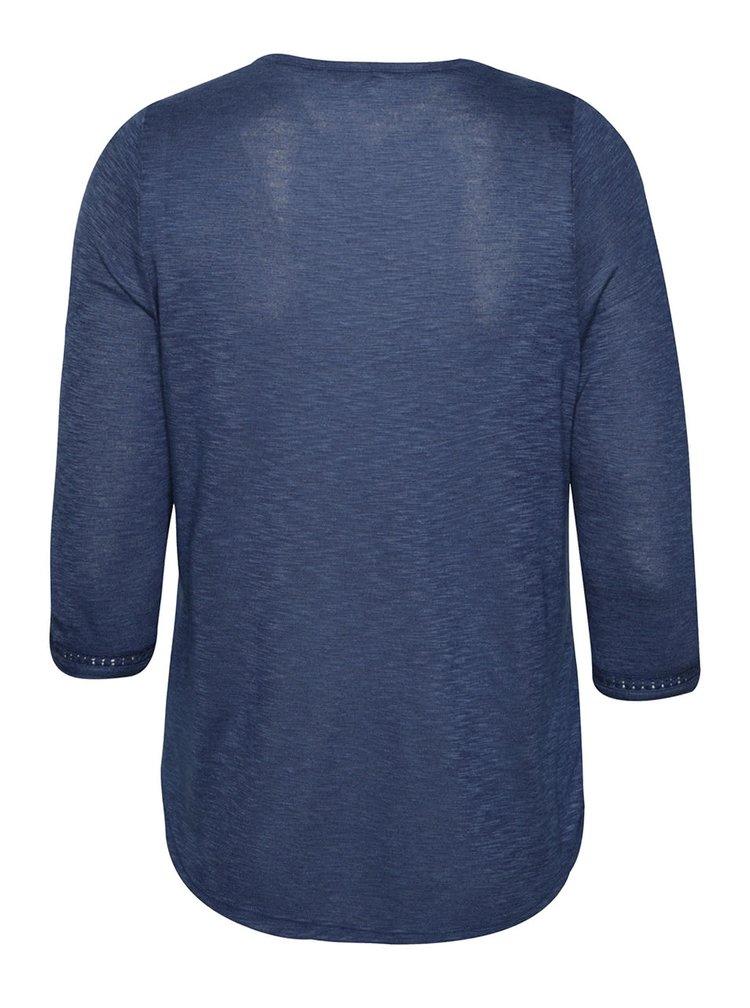 Bluza albastra M&Co cu detalii din dantela
