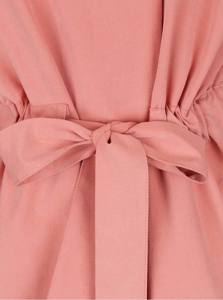 Pardesiu roz pal VILA Wonderfull cu cordon în talie