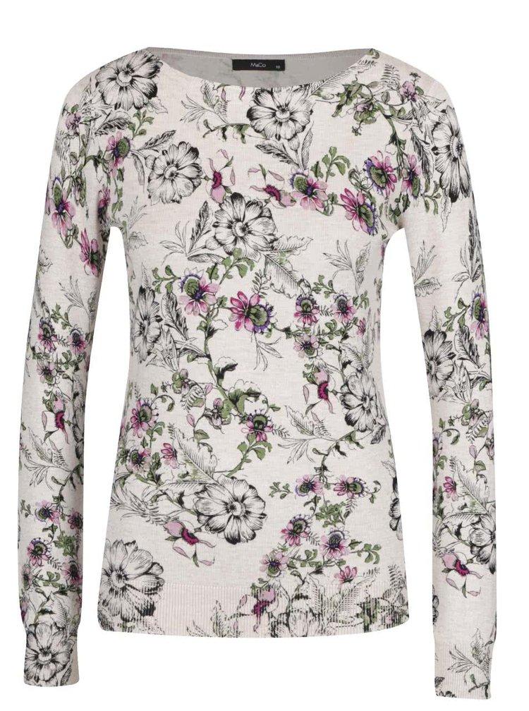 Béžový dámský květovaný svetr M&Co