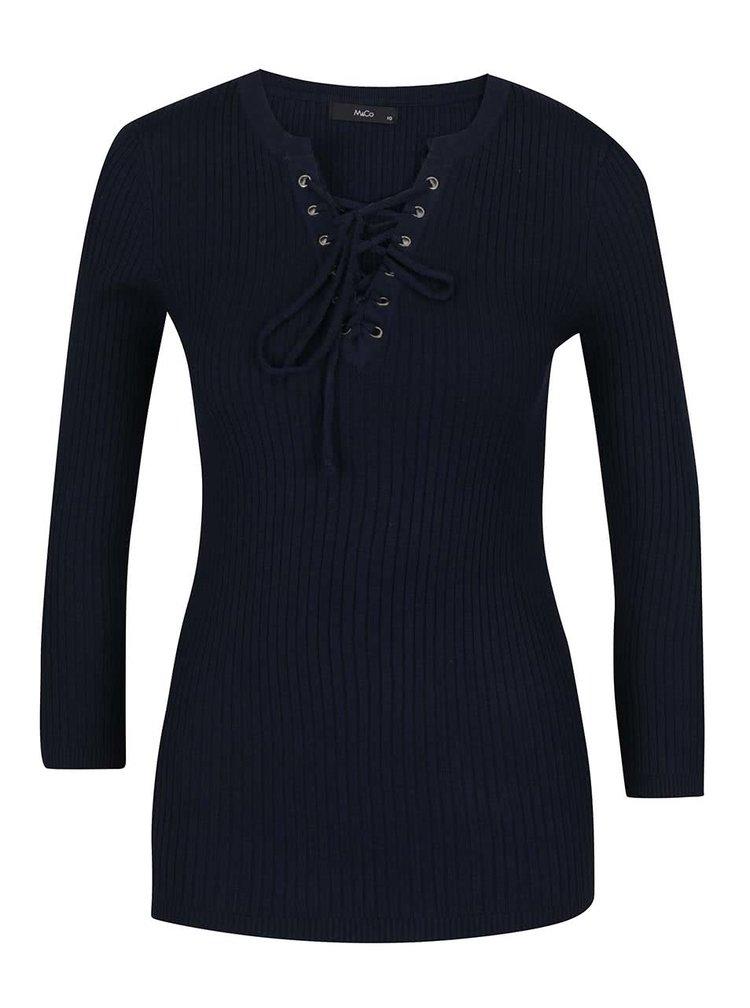 Bluză neagră din jerseu M&Co cu şiret