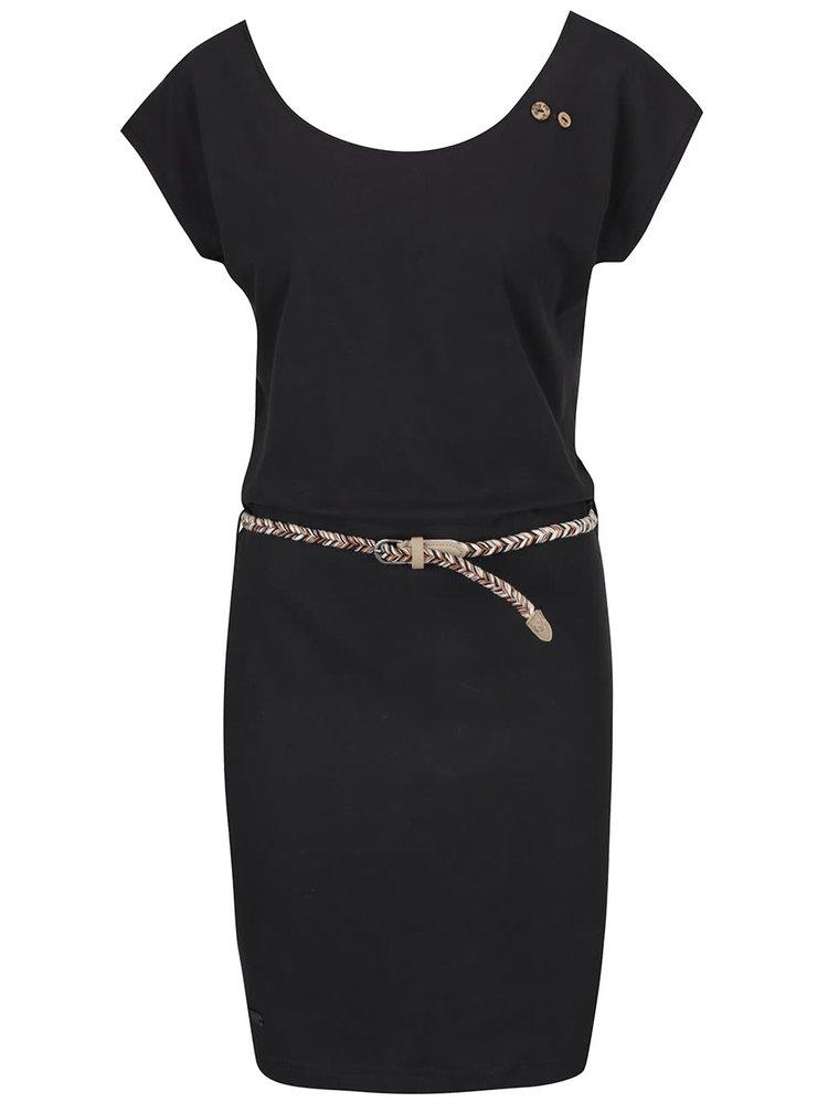 Rochie neagră Ragwear Sofia Dress regular fit din bumbac cu cordon în talie