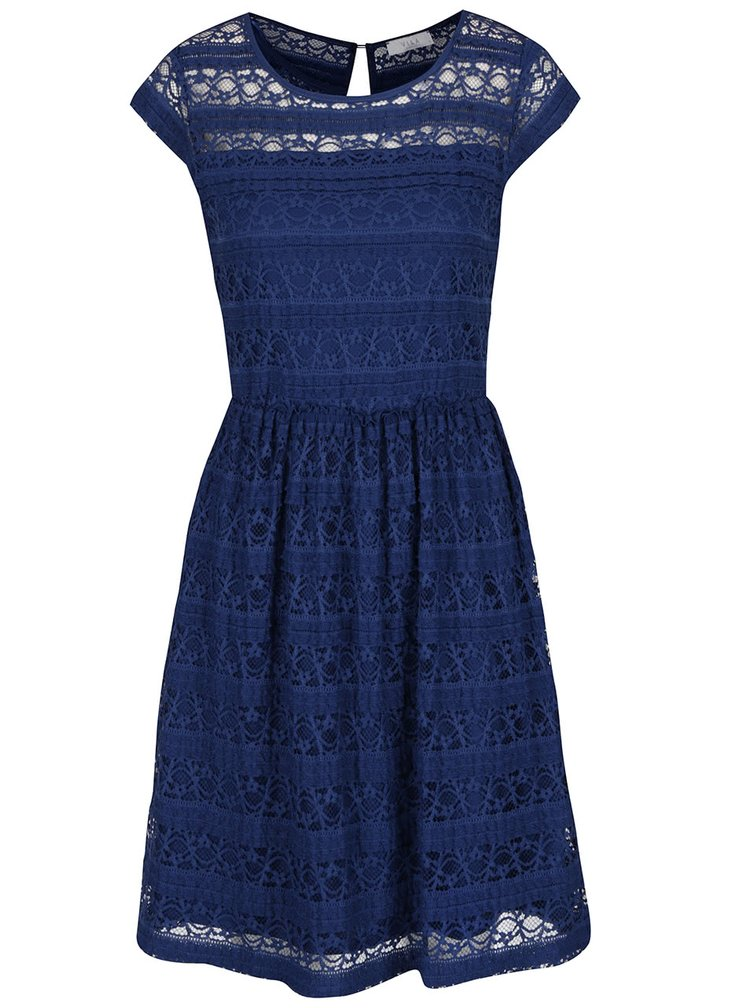Tmavě modré krajkové šaty VILA Kania