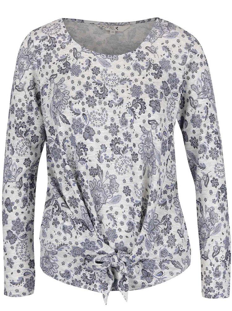 Bluza gri cu model M&Co cu nod decorativ