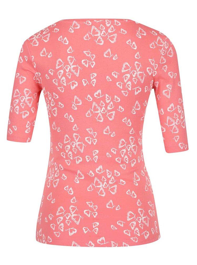 Korálové dámské tričko s hranatým výstřihem M&Co