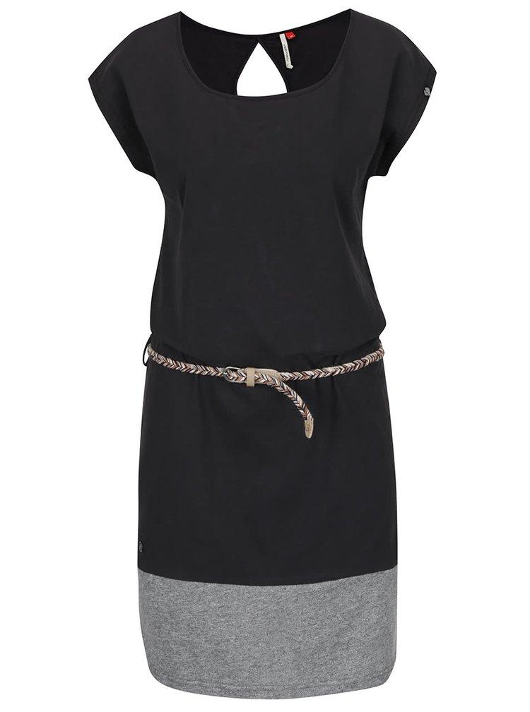 Rochie neagră Ragwear Soho cu detaliu gri melanj și cordon